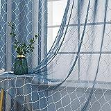 MIULEE Tende Trasparenti Ricamati Voile Tenda per Finestra con Occhielli 2 Pannelli per Soggiorno e Camera da Letto 140 X 260 cm