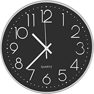 DORBOKER Wall Clock - 12 Inch Modern Wall Clocks Battery Operated Silent Non Ticking Digital Easy to Read Wall Clocks for ...
