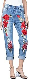 Gooket Women's Fashion Rose Embroidered Jeans Destroyed Ripped Hole Straight-Leg Boyfriend Denim Pants