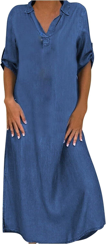 YUNDAN Womens Plus Size Denim Dresses Turn-Down Collar Short Sleeve Loose Long Dress Summer Casual Button Shirt Dress S-5XL
