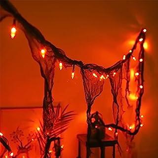 Malgero Halloween Decorations Orange String Lights with Black Gauze 9.9Ft Creepy Cloth Indoor Spooky Lights 30LED Gothic P...
