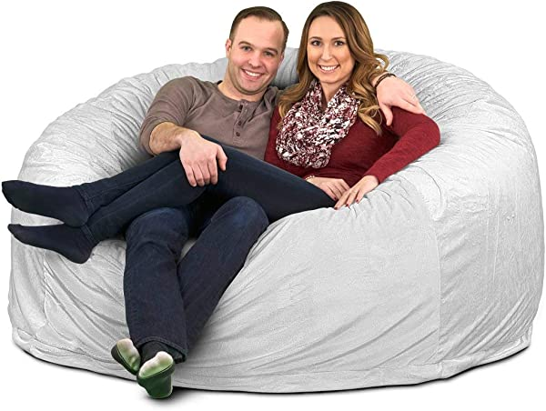 Extra Large 6 Fuf Comfort Suede Bean Bag By Ink Craft Cover Only White