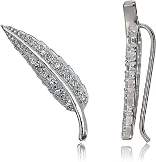 Sterling Silver Cubic Zirconia Leaf Crawler Climber Earrings