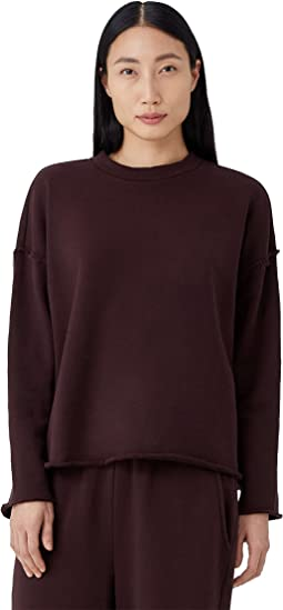 High Crew Neck Box Top in Organic Cotton French Terry
