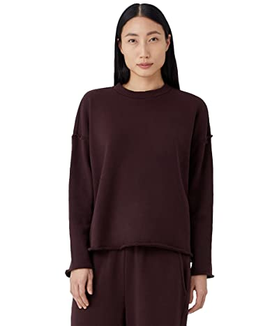 Eileen Fisher High Crew Neck Box Top in Organic Cotton French Terry