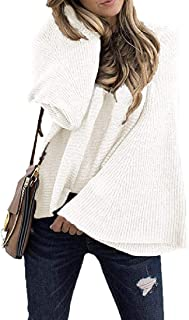 Women's Pullover Casual Long Bell Sleeve Knit Jumper Tops Sweaters