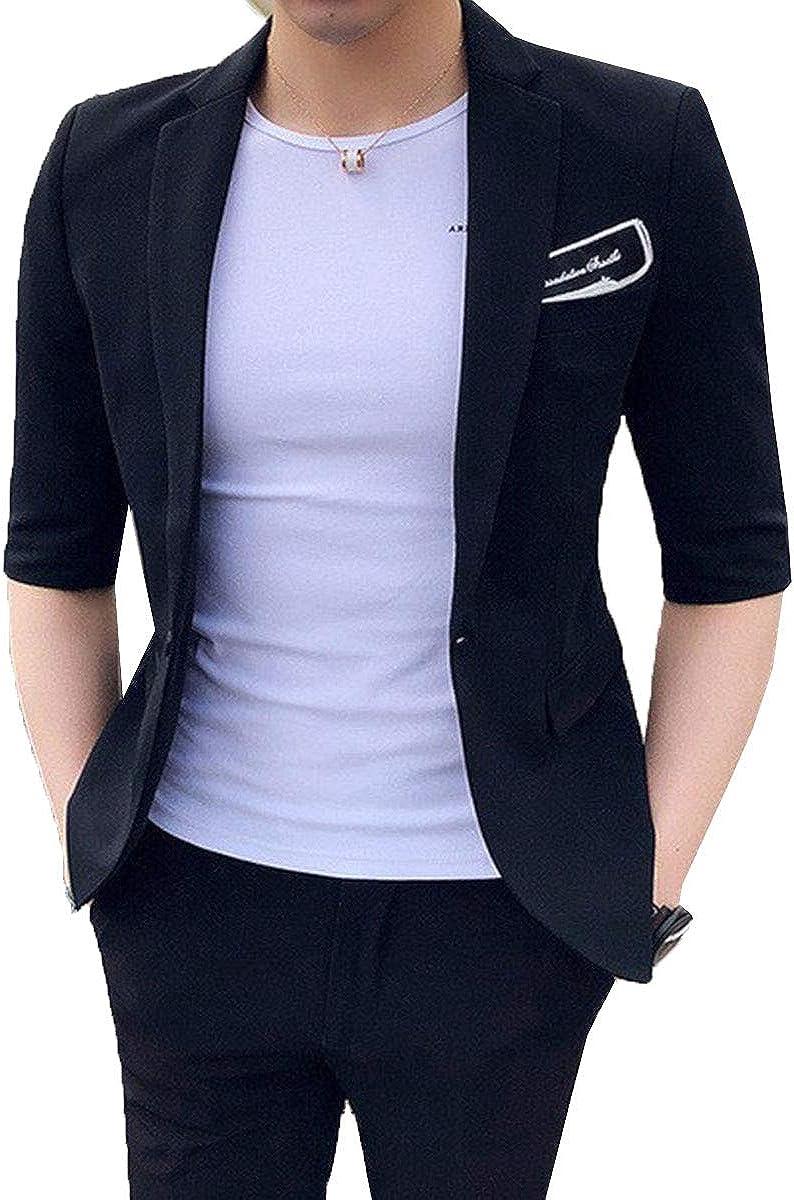 RONGKIM Summer Slim Fit Men's Suit Short Sleeves Men's Wedding Blazer 2 Piece Suit Set