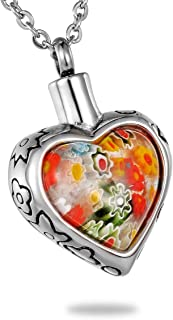 HooAMI Pet Memorial Colorful Murano Flower Glass Heart Urn Necklace Stainless Steel Cremation Jewelry