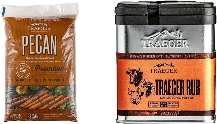 Traeger Grills PEL314 Pecan 100% All-Natural Hardwood Pellets Grill, Smoke, Bake, Roast, Braise and BBQ, 20 lb. Bag & Grills SPC174 Rub with Garlic and Chili Pepper