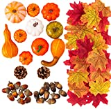 MoonLa Halloween Mini Artificial Pumpkins and Gourds Maple Leaves Pine...