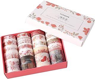 20 Rolls Masking Washi Tape Set Red Flower Floral Grass Sweet Food Kawaii Animal Decorative DIY Sticker Label Decor for Gi...