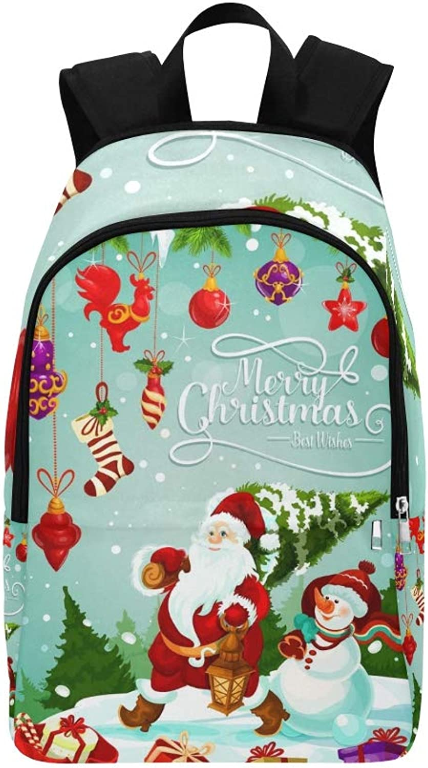 Merry Christmas Greeting Card Design Santa Casual Daypack Travel Bag College School Backpack for Mens and Women