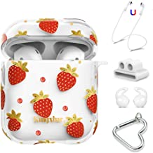 AirPods Case Cover Apple Airpods Accessories Cute Protective Clear Hard Skin, Crystal from Swarovski for AirPods 2 & 1, Strawberry Design with Keychain/Strap/Earhooks/Watch Band Holder by KINGXBAR