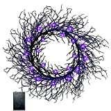 TURNMEON 18 Inch Lighted Black Halloween Wreaths for Front DoorHalloween Decorations with Timer 20 LED Purple Lights Glittered Wreath Battery Operated for Indoor Outdoor Home Window Halloween Decor
