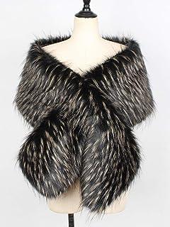 Romacci Women Faux Fur Scarf Shawl Cross Front Fluffy Thicken Cape Winter