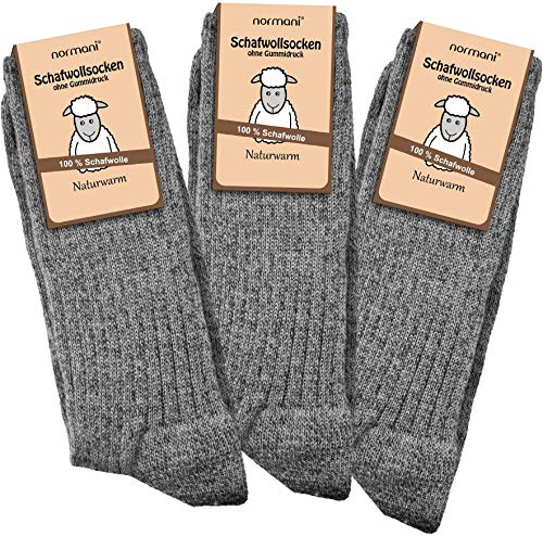 normani 6 Paar Schafwollsocken 100prozent Wolle Norwegersocken Gr. 35-50 Farbe Grau Größe 43/46