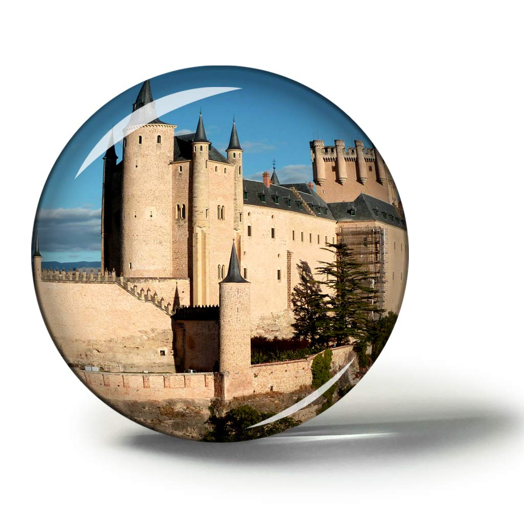 Hqiyaols Souvenir España Alcazar Castillo Segovia Imanes Nevera Refrigerador Imán Recuerdo Coleccionables Viaje Regalo Circulo Cristal 1.9 Inches: Amazon.es: Hogar