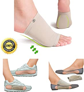 Plantar Fasciitis Pain Relief with JERN Gel Cushioned Orthotic Arch Support Sleeve for Flat Feet, Heel Spurs, Heel Neuromas, Correcting Hip Knee and Back Posture (1 Pair for Men and Women)