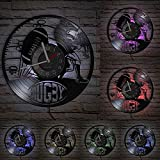Jeu de Rugby Disque Vinyle Horloge Murale Joueur de Jeu de Football Hommes Grotte décoration de la Maison Football Album de Sport Artisanat Horloge Murale
