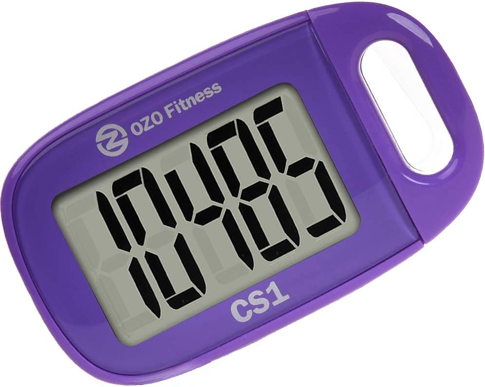 CS1 Easy Pedometer for Walking   Clip on Step Counter   Large Display + Lanyard (Purple) : Sports & Outdoors