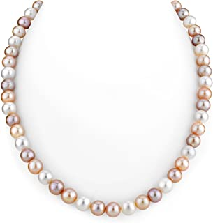 PriceRock 14k Yellow Gold 5-6mm Round White Saltwater Akoya Cultured Pearl Necklace 18 Inches Long