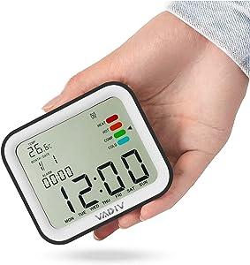 VADIV Reloj Despertador Viaje Digital Portatil, CL07 Función de Despertador de FILP, Alarmas Programables, Pantalla Retroiluminada, Fecha Indicador Confort Térmico, Smart Snooze - Negro
