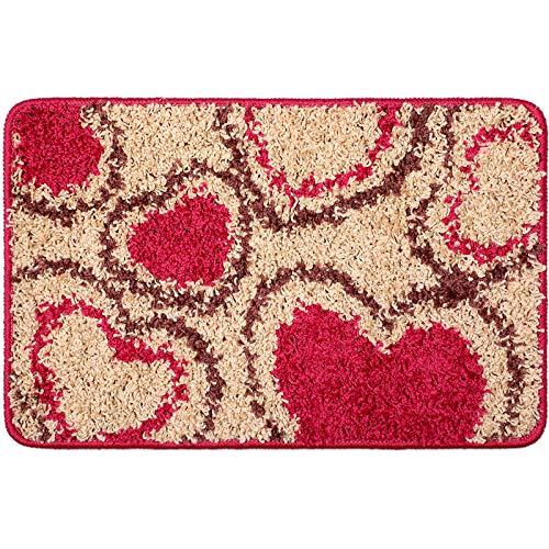 Felpudo de San Valentín Alfombrilla de Entrada con Patrón de Corazón Felpudo Decorativo San Valentín Alfombras Piso Antideslizante Lavable para Decoración San Valentín, 15,7 x 23,6 Pulgadas