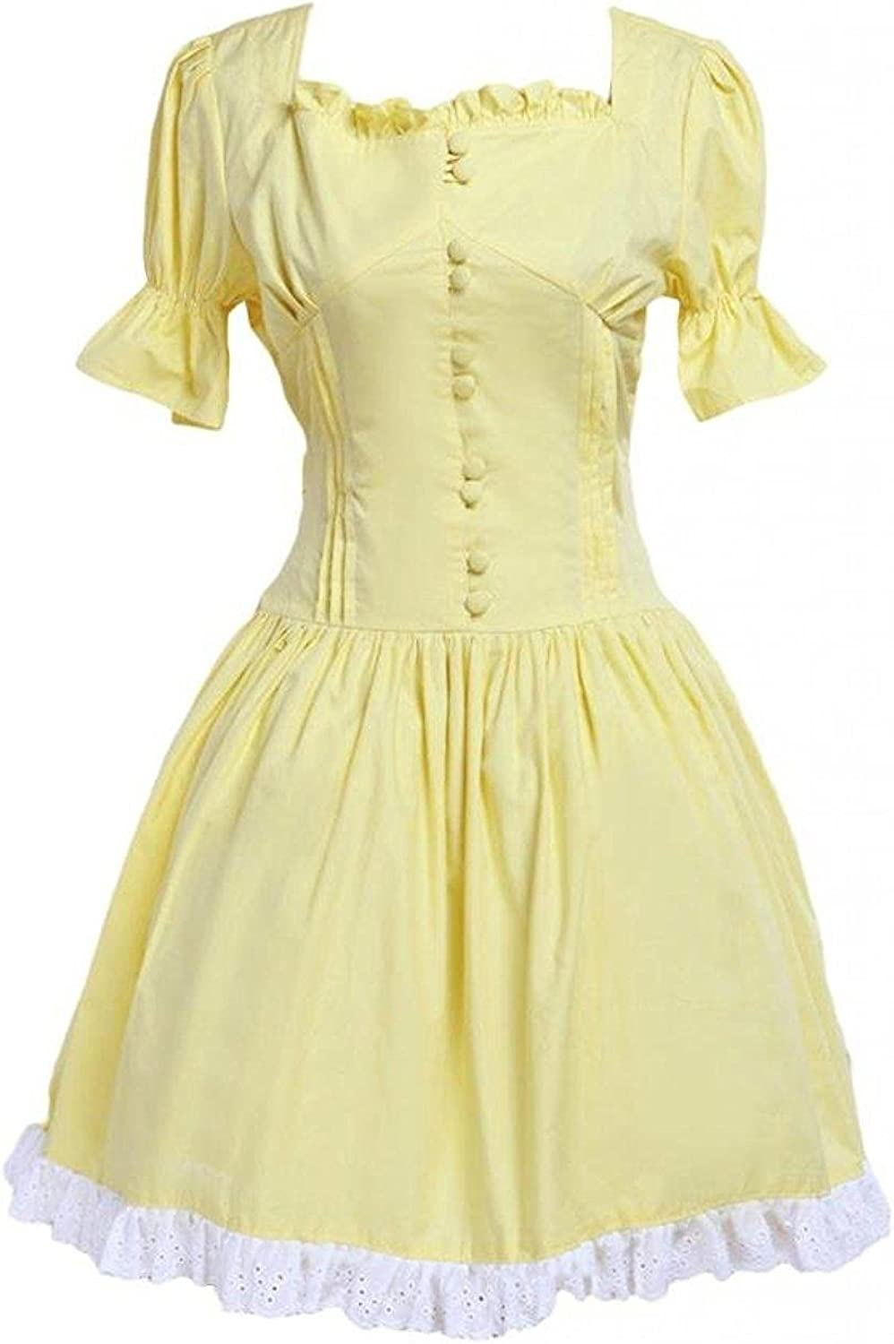 Cemavin Womens Yellow Cotton Lace Square Neck Short Sleeves Lolita OnePiece