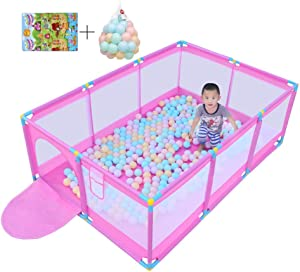 MWPO Play tents for babies Safety zone for playpen Fence Protective Fence zone for child center made breathable net  with 200 balls and play mats  pink