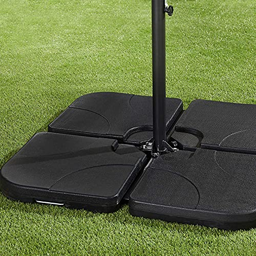 Garden Store Direct GSD Set of 4 Outdoor Umbrella Cantilever Parasol Bases - Sand/Water Filled Weights - 60kg Total Weight