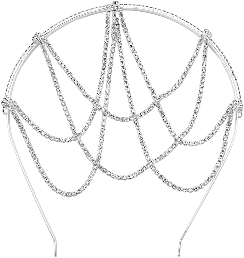 Rosemarie Collections Women's Unique Drape Design Crystal Rhinestone Head Chain Headband