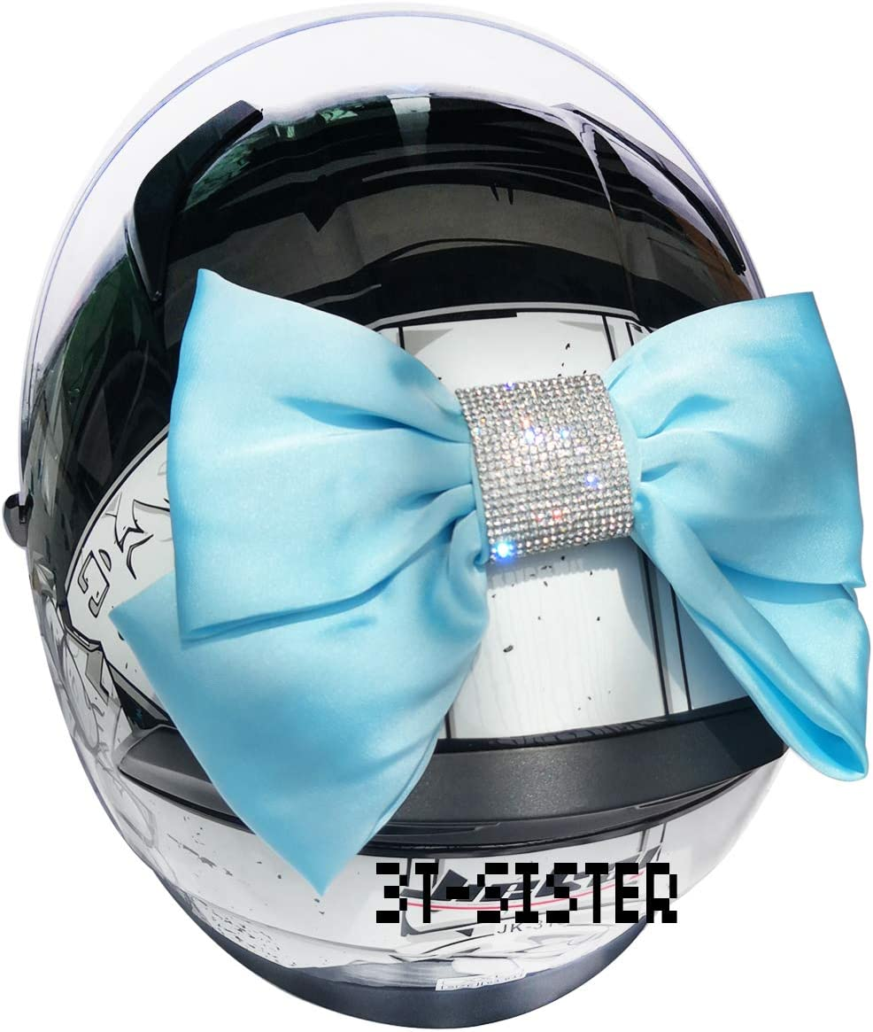 3T-SISTER Helmet Bow with Crystal Handmade Motorcycle Helmet Bow Knot Helmet Accessories for Motorcycle Helmet Ski Helmet Bicycle Helmet Decoration 7 Colors to Choose