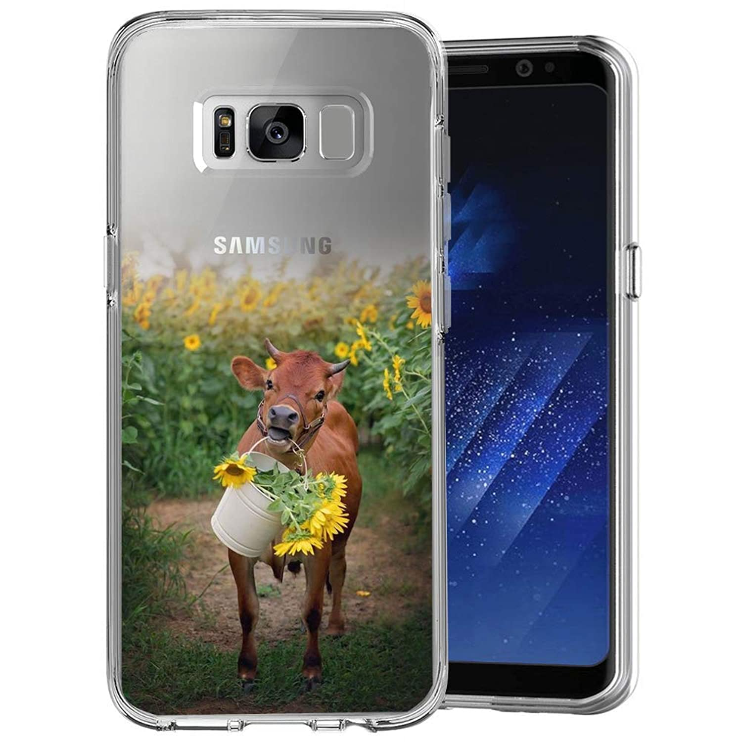 Case for Samsung Galaxy S8 Cows and Sunflowers Clear Case Shockproof Flexible Slim Soft Durable Rubber TPU Ultra-Clear Silicone Protective Case for Samsung Galaxy S8