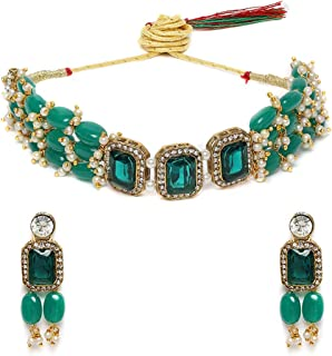Zaveri Pearls Green Stones & Beads Multistrand Traditional Choker Necklace & Earring Set For Women-ZPFK10111