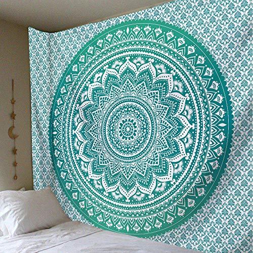 Tapiz de pared con diseño de mandala, hippie, bohemio, funda de sofá, decoración, mandala, decoración psicodélica, 150 cm x 200 cm