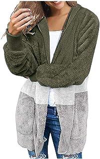 Bloomn Women's Casual Draped Open Front Oversized Pockets Leopard Print Hooded Coat Cardigan