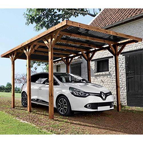 Carport en bois teinté autoportant pour une voiture...