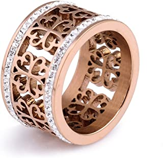 Women's Retro Hollow Rose Gold Stainless Steel Ring Rhinestone Ring for Gift (Size 6-10)