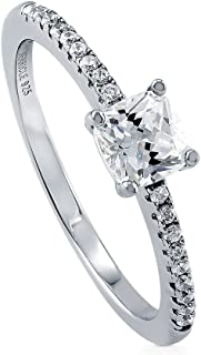 BERRICLE Rhodium Plated Sterling Silver Cushion Cut Cubic Zirconia CZ Solitaire Promise Engagement Ring 0.69 CTW