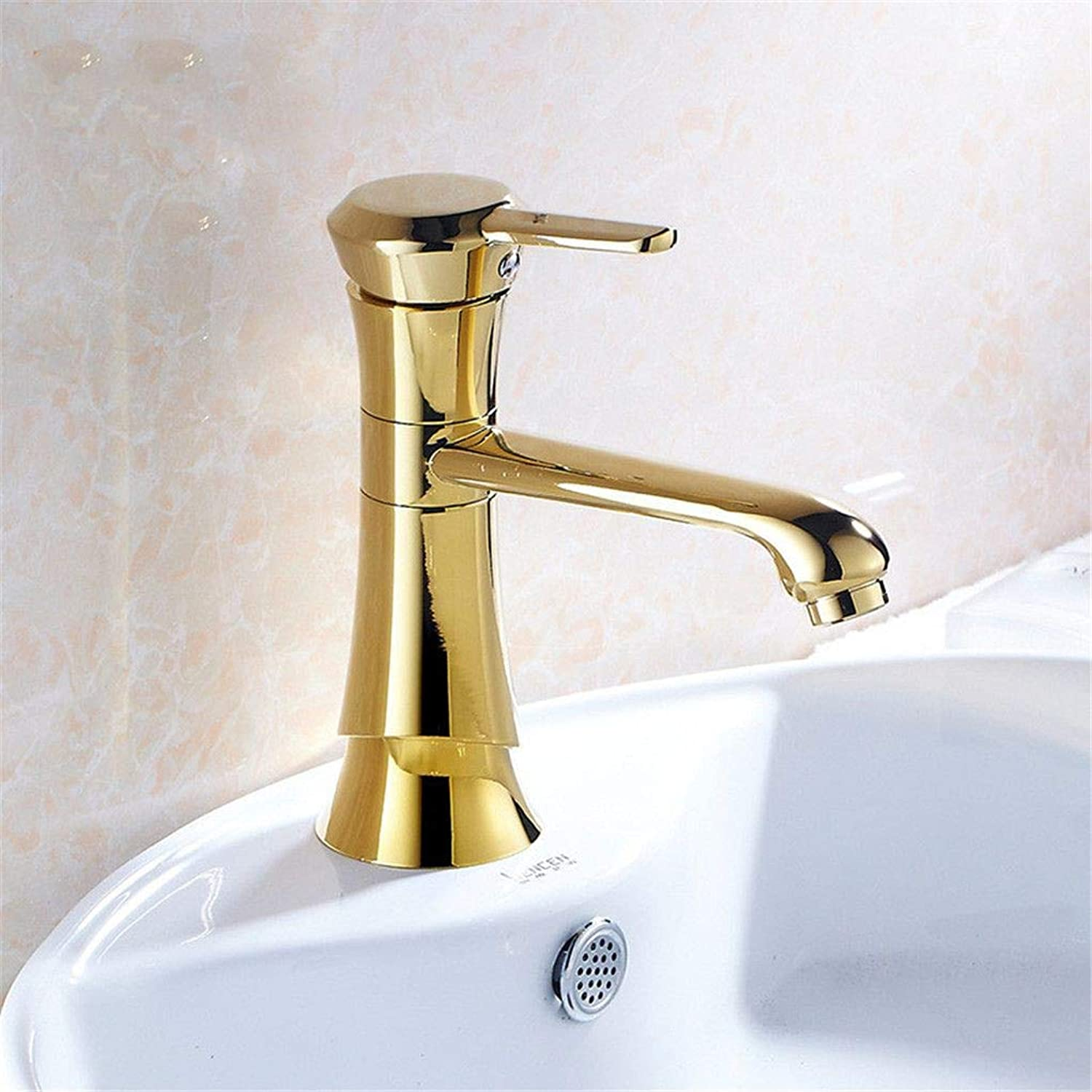YAWEDA Copper Basin Faucet Bath Sink Faucet golden Hot and Cold Water Mixer Washbasin Quadrangular Fashion Faucet with Aerator Single Handle
