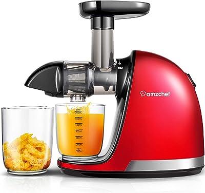 Máquinas exprimidoras, máquina extractora de exprimidor profesional de prensa en frío AMZCHEF, exprimidor de masticación lenta con cepillo, función inversa, para jugo de frutas y verduras