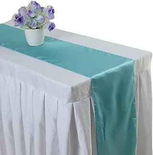 Uniquemystyle 10 pcs Satin 12'' x 108'' Table Runner Wedding Banquet Party Decoration (Aqua)