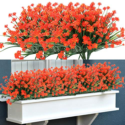 TEMCHY Artificial Outdoor Flowers, 8 Bundles Fake UV Resistant Foliage Greenery Faux Plants Shrubs Plastic Bushes for Indoor Outside Hanging Planter Wedding Farmhouse Decor (Orange Red)