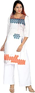 Prateek Exports Women's Cotton Printed Kurti With Palazzo for Daily Wear