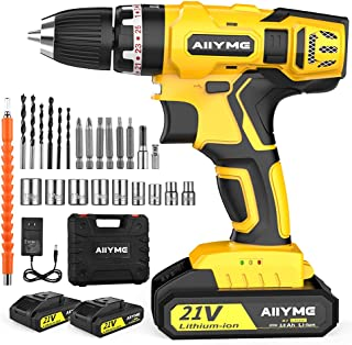 Cordless Drill, AIIYME 21V Impact Drill 706In-lbs Torque 25+3 Clutch 2 Batteries 0-3000RPM Variable Speed Electric Drill D...
