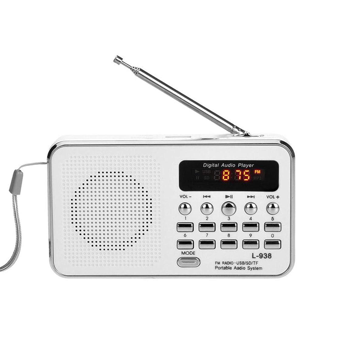 テスピアンショルダー鋼TBTUA ポータブルラジオ、ポータブルFMラジオ、短波ラジオ、最高の受信サポート付きSDカードUSBドライバAUX入力MP3プレーヤー充電式バッテリー (Color : White)