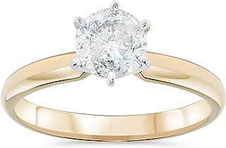 1.07 Carat IGI Certified Round Solitaire Diamond Engagement Ring For Women 14k Yellow Gold(I-J, I2)