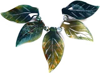 40-53mm Carved gemstone leaf leaves graduated pendant beads set Jewelry Making (Moss agate)