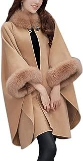 Lentta Women's Baggy Fit Hip Long Warm Faux Fur Collar Wool Cape Coat Overcoat