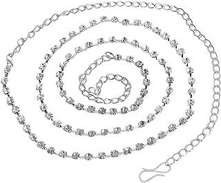 DollsofIndia White Stone Studded Kamarband - Waistband - 24 inches Chain - 16.5 inches (LH81)